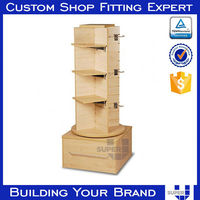 rotating wood peoduct display stands