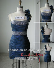 EB1337 One shoulder with bead short dress