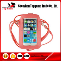 Clear full touch screen mobile phone pouch with shoulder long strap bag