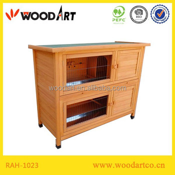 Solid wood two storey rabbit cage