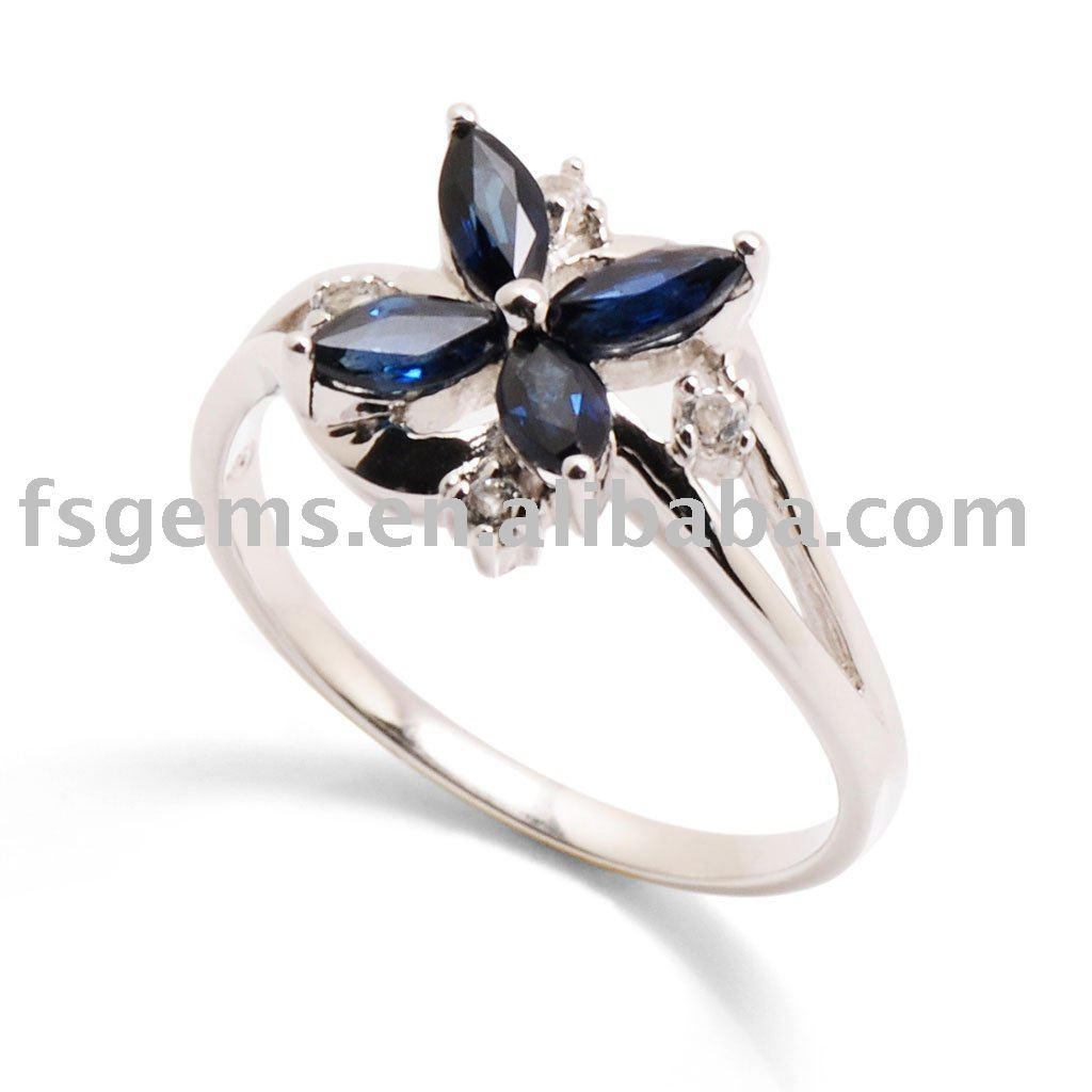 China silver jewelry market women's gemstone silver ring with sapphire