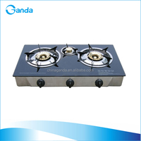Household Gas Stove 3 Burners with Tempered Glass Top (GT-673S)