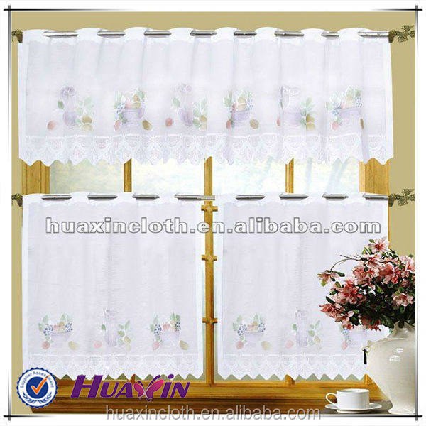 shaoxing exported jacquard 3 PCS lace kitchen curtain