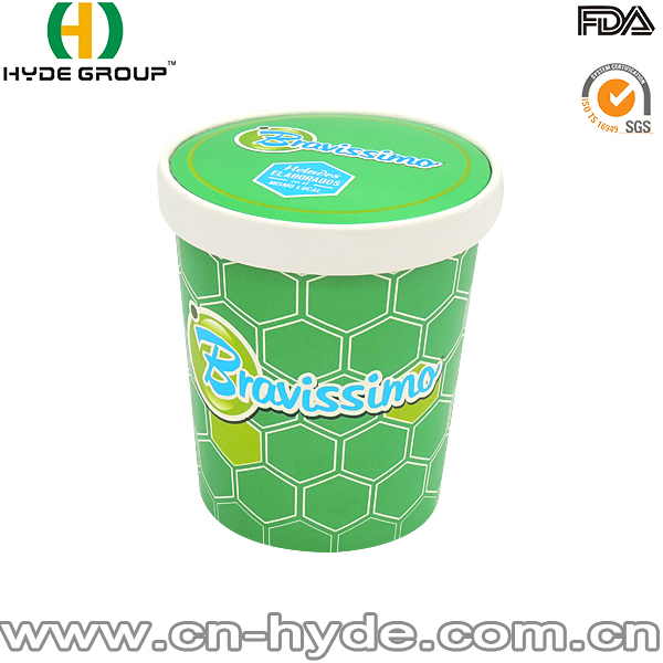 Disposable Ice Cream/ Gelato Use Green Paper Cup Logo