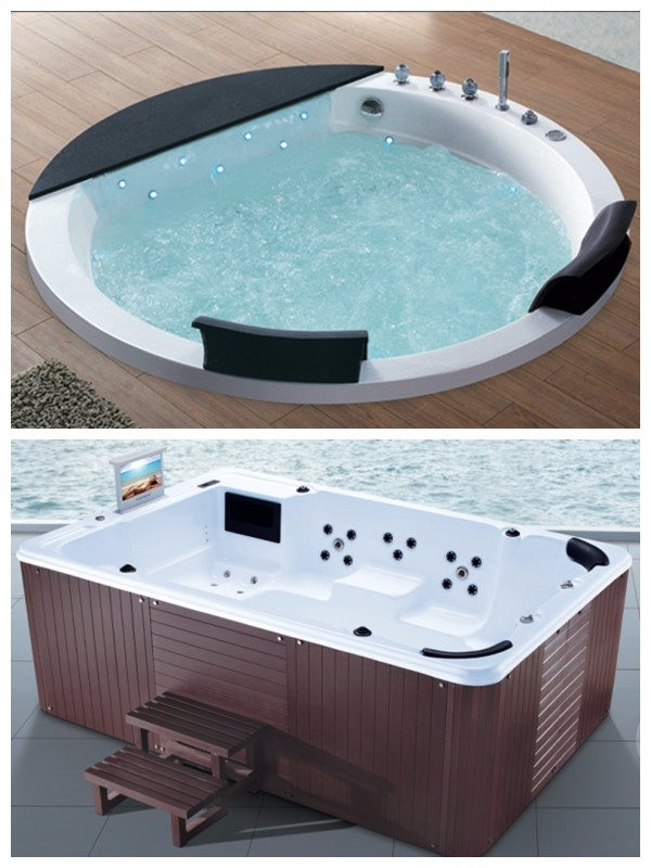 foshan two person outdoor spa skirt wooden bathtub with massage