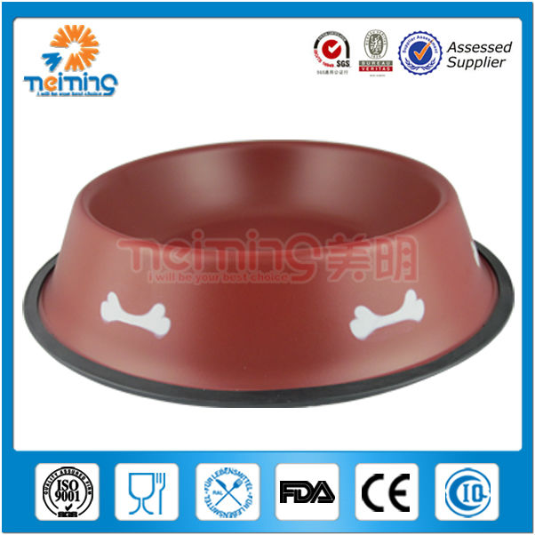 Colorful Shallow round non-slip stainless steel pet bowls/dog bowls/cat bowl
