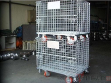 Mesh box wire cage metal bin storage container with wire rolling storage cage