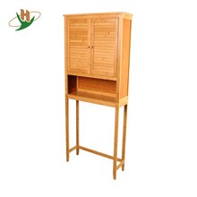 Antique style solid wood bathroom space saver bamboo tall floor cabinet