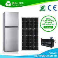 Double door 145L DC 12V solar fridge and dc refrigerator complete with solar panel and battery