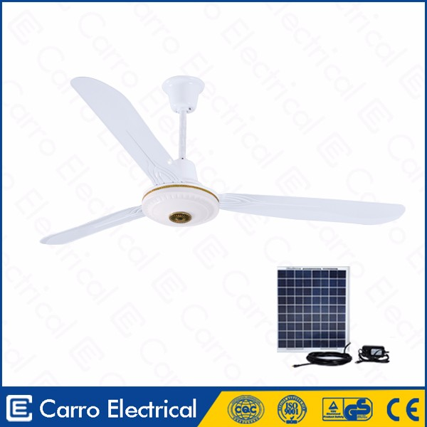 Good quality 12v 36w low power energy saving white dc solar ceiling fan with high rpm