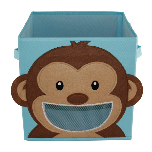 Smiling Monkey Cartoon Felt Mesh- Window Storage Box Bin, Book Lego Toy Organizer Case