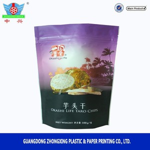 Aluminum foil stand up plastic zip lock bag for taro chips