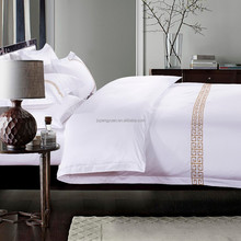 hot sale 100% cotton commercial luxuary 5 star hotel bed linen supplier 300T jacquard embroidery