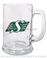 Sask grey cup glass beer mug with handle