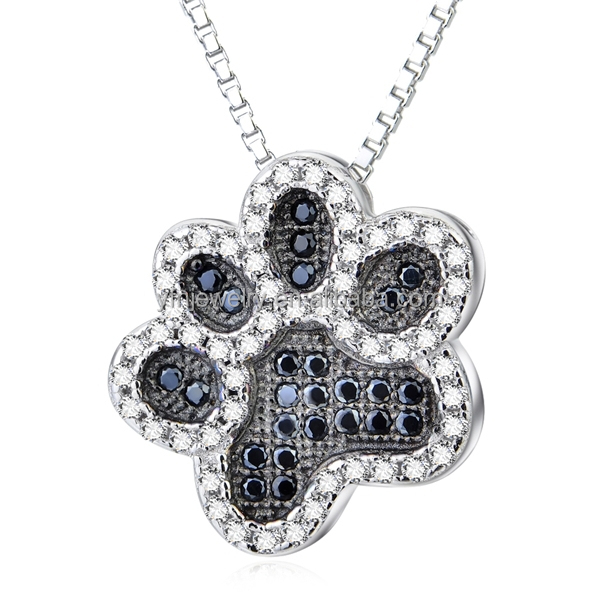 925 Silver Micro Pave White and Black Zirconia Wholesale Paw Print Necklace