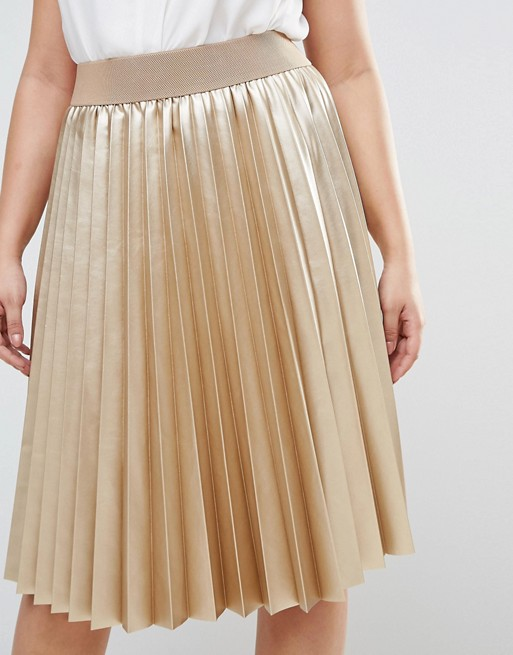 Cheap plus size gold velvet pleated high-raise waist ladies skirt