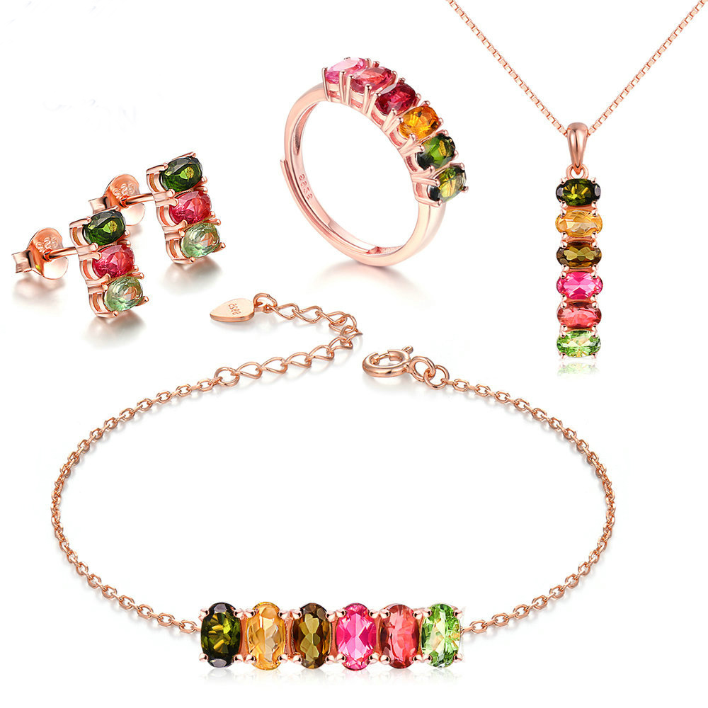 OB Jewelry-Natural Gemstone Rose Quartz 4PCS Bear's Paw Jewelry Sets Rose Gold China Wholesale 925 Silver Jewelry Set For Women