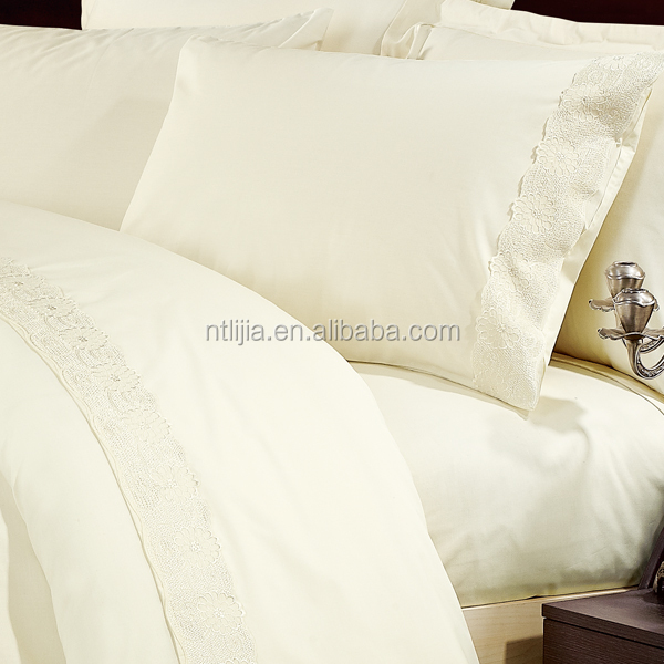 Polycotton 50% and 50% embroidered lace bedding set manufacturer