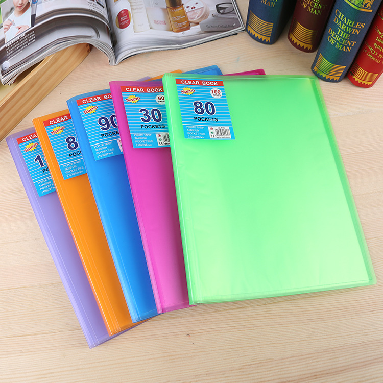 pp hard plastic clear pages A4 size 60 pocket display folder presentation file folder plastic display book