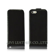 Black Genuine Leather Flip Hanging Case For iPhone 5, For iPhone 5''