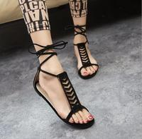 Rome Style Women Lace Up Sandals Casual Shoes Flat Sandals 2016