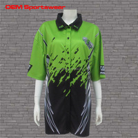 Green black women button down sublimated racing pit crew shirts