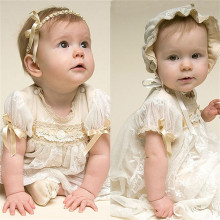 Baby Girl Christening Gowns With Headband White Gauze Dress Fashion Baby Birthday Baptism Girls Dresses