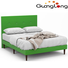 modern stylish green color double size platform fabric bed frame for sale