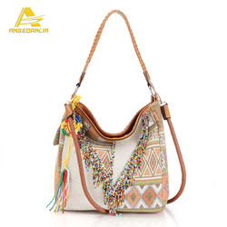 New Famous Boho Shoulder Bag Tassel Handbag Women's Vintage Bag Geometry Bags Factory Price