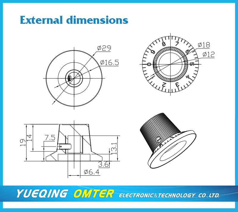 3018C  dia 29mm  hole 6mm/6.4mm  turns counting dial