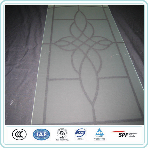 Super White Clear Tempered Acid Etched Glass With Patterns , Etched Glass Door Panels