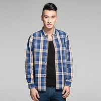 Newest fashion popular carbon washing cotton blue big check latest shirt designs for men in india