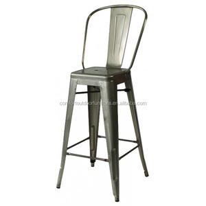 "Commercial Quality Iron Bar Chair with High Back 30"" Seat Height"