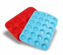 Mini Muffin Cup 24 Cavity Silicone Soap Cookies Cupcake Bakeware Pan Tray Mould
