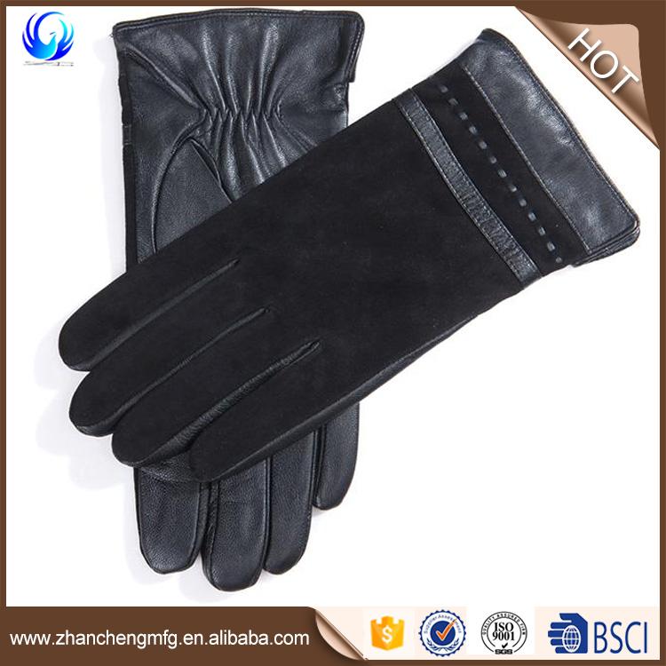 Men's pig suede back genuine leather gloves warmer black color