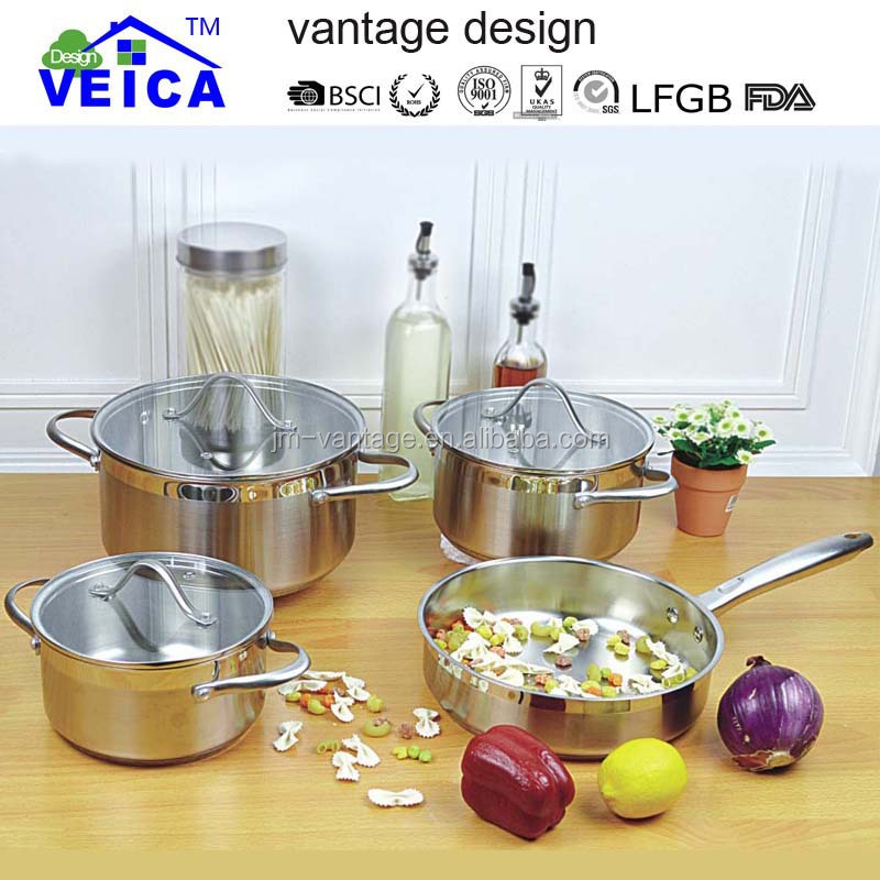 good quality 7 pieces stainless steel cookware/cooking pot/rice pot sets with flat glass lid