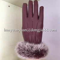 with ready sale fine looking Real rabbit fur women leather gloves