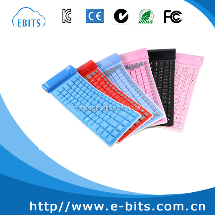 New fashion folding keyboard silicone material waterproof Wireless Bluetooth Keyboard For IOS/Android/Windows