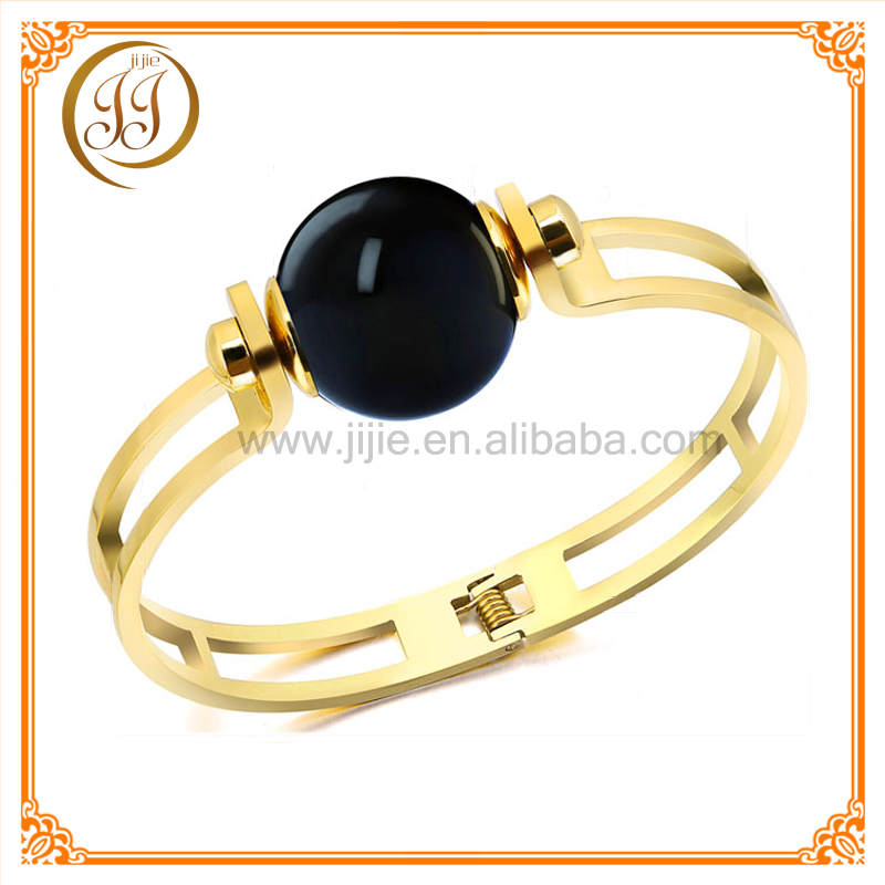 Hot sale stainless steel infinity gold bracelet with black bead
