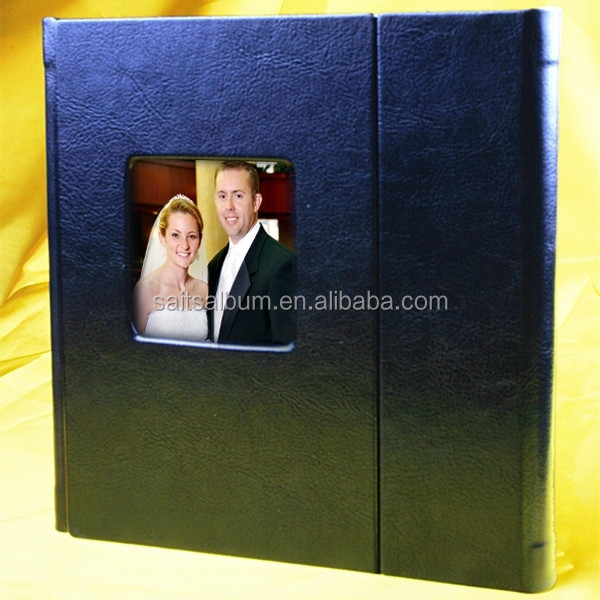 Handmade leatherette 1 disc CD DVD case with overlap cover and picture window