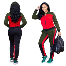 hot sale Colorblock Jackets and Bodycon Long Pants two piece set womens tracksuit