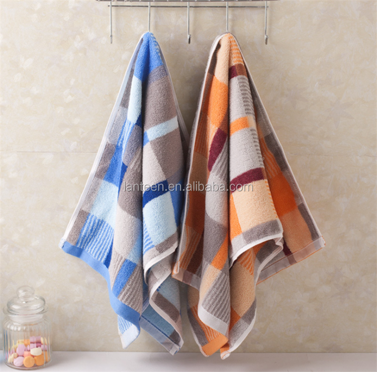 check design pattern jacquard 100% cotton face towel 35*75cm 100g
