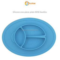 alibaba best sellers private label Toddler Silicone Blue Beatles One - Piece Plate for Babies