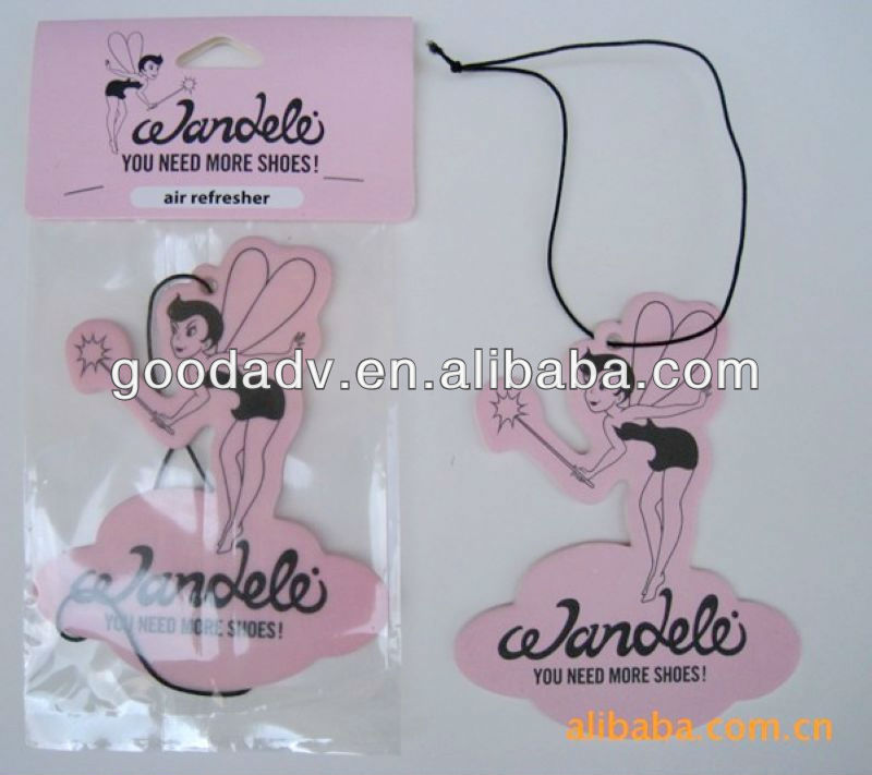 2013 Customized design Hanging car air freshener/scented paper with colorful logo