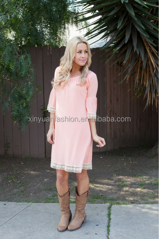 Wholesale customized Mommy and Me Countryside Tunic Dress in Peach