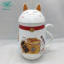 Personalized fine bone china 400ml ceramic cat shape drinking milk porcelain coffee mug with lid
