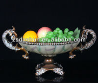 Resin double ear shaped antique fruit bowl