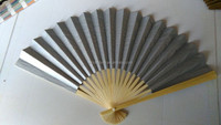 two-side silver paper bamboo hand fan