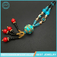 Yiwu Jewelry Long Tassels Colorful Ball Alloy Set Auger Cloisonne Sweater Chain Necklace