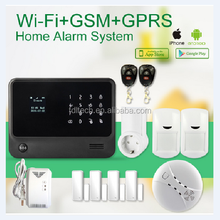 cheap 868mhz GSM WIFI Smart Home Security Alarms System with smoke gas detector